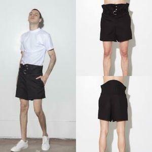 Oak NYC Unisex Black High Waisted Belted Shorts